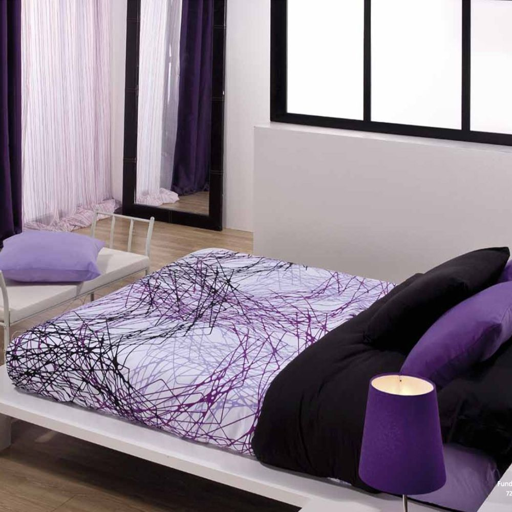 Funda nordica tyna lila cama10 for Fundas nordicas estampadas