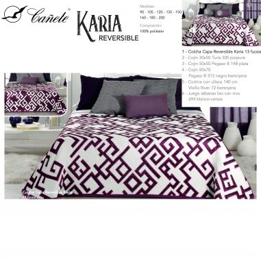 COLCHA CAPA REVERSIBLE KARIA COLOR...